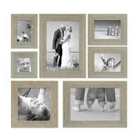7er Set Vintage Bilderrahmen Grau-Grün Shabby-Chic 10x10, 10x15, 13x18, 20x20 und 20x30 cm inkl. Zubehör Fotorahmen / Nostalgierahmen