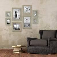 8er-Set Bilderrahmen Grau-Grün Shabby-Chic Vintage je 2 mal 10x10 10x15 20x20 und 20x30 cm inkl. Zubehör Fotorahmen / Nostalgierahmen  – Bild 2