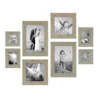 8er-Set Bilderrahmen Grau-Grün Shabby-Chic Vintage je 2 mal 10x10 10x15 20x20 und 20x30 cm inkl. Zubehör Fotorahmen / Nostalgierahmen  – Bild 1
