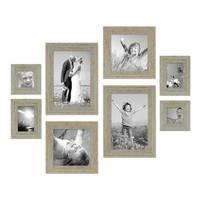 8er Set Vintage Bilderrahmen Grau-Grün Shabby-Chic je 2 mal 10x10, 10x15, 20x20 und 20x30 cm inkl. Zubehör Fotorahmen / Nostalgierahmen