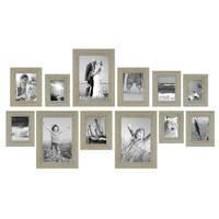 12er Set Vintage Bilderrahmen Grau-Grün Shabby-Chic
