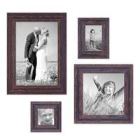 4er Set Vintage Bilderrahmen Dunkelbraun Shabby-Chic je einmal 10x10, 10x15, 20x20 und 20x30 cm inkl. Zubehör Fotorahmen / Nostalgierahmen  – Bild 2