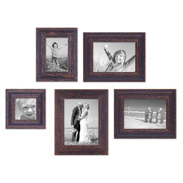 5er Set Vintage Bilderrahmen Dunkelbraun Shabby-Chic 10x10, 10x15, 13x18 und 15x20 cm inkl. Zubehör Fotorahmen / Nostalgierahmen