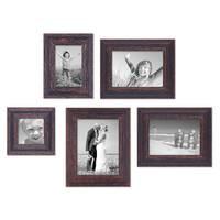 5er-Set Bilderrahmen Dunkelbraun Shabby-Chic Vintage 10x10 10x15 13x18 und 15x20 cm inkl. Zubehör Fotorahmen / Nostalgierahmen