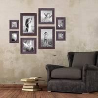 8er Set Vintage Bilderrahmen Dunkelbraun Shabby-Chic je 2 mal 10x10, 10x15, 20x20 und 20x30 cm inkl. Zubehör Fotorahmen / Nostalgierahmen  – Bild 2