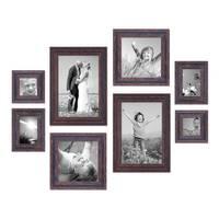8er Set Vintage Bilderrahmen Dunkelbraun Shabby-Chic je 2 mal 10x10, 10x15, 20x20 und 20x30 cm inkl. Zubehör Fotorahmen / Nostalgierahmen