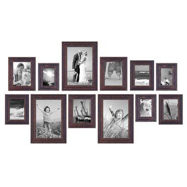 12er set vintage bilderrahmen dunkelbraun shabby chic 10x15 13x18 15x20 und 20x30 cm inkl. Black Bedroom Furniture Sets. Home Design Ideas