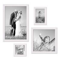 4er Set Landhaus-Bilderrahmen Weiss Massivholz je einmal 10x10, 10x15, 20x20 und 20x30 cm inkl. Zubehör – Bild 1