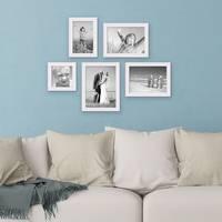 5er Set Landhaus-Bilderrahmen Weiss 10x10 10x15 13x18 und 15x20 cm Massivholz inkl. Zubehör  – Bild 2