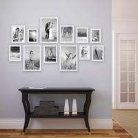 12er Set Landhaus-Bilderrahmen Weiss 10x15 13x18 15x20 und 20x30 cm Massivholz inkl. Zubehör  – Bild 3