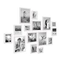15er Set Landhaus-Bilderrahmen Weiss Massivholz Größen 10x10 10x15 13x18 20x20 20x30 cm inkl. Zubehör – Bild 3