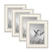 4er Set Bilderrahmen Shabby-Chic Landhaus-Stil Weiss 13x18 cm Massivholz mit Glasscheibe und Zubehör / Fotorahmen