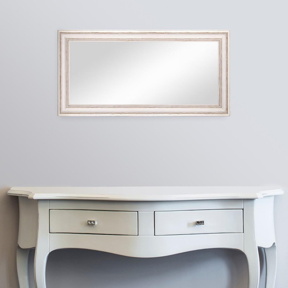 wand spiegel 40x70 cm im massivholz rahmen landhaus stil weiss spiegelfl che 30x60 cm spiegel. Black Bedroom Furniture Sets. Home Design Ideas
