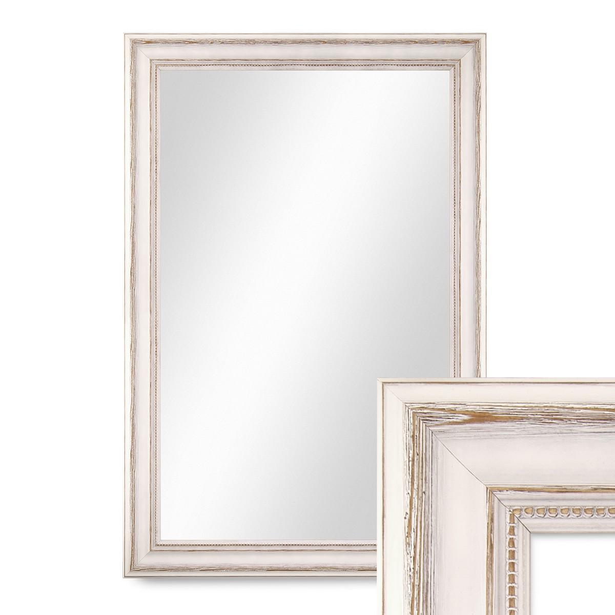 wand spiegel 50x60 cm im massivholz rahmen landhaus stil weiss spiegelfl che 40x50 cm spiegel. Black Bedroom Furniture Sets. Home Design Ideas