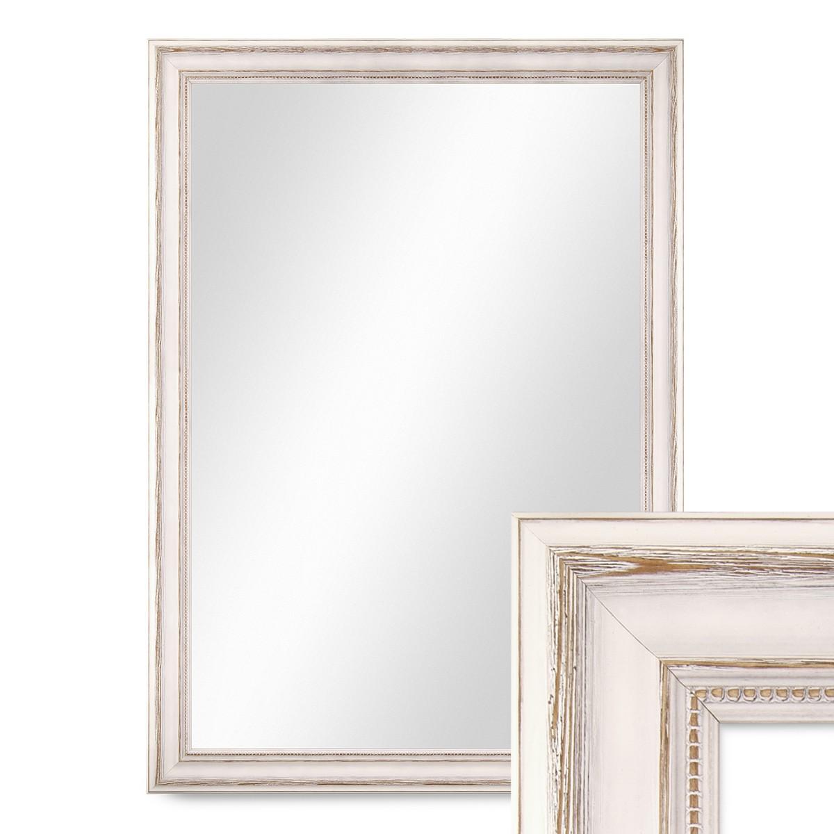 wand spiegel 60x80 cm im massivholz rahmen landhaus stil weiss spiegelfl che 50x70 cm spiegel. Black Bedroom Furniture Sets. Home Design Ideas