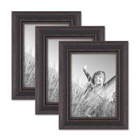 3er Set Bilderrahmen 13x18 cm Shabby-Chic Landhaus-Stil Dunkelbraun Massivholz mit Glasscheibe und Zubehör / Fotorahmen  – Bild 1