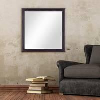 Wand-Spiegel 70x70 cm im Massivholz-Rahmen Landhaus-Stil Dunkelbraun Quadratisch / Spiegelfläche 60x60 cm – Bild 2