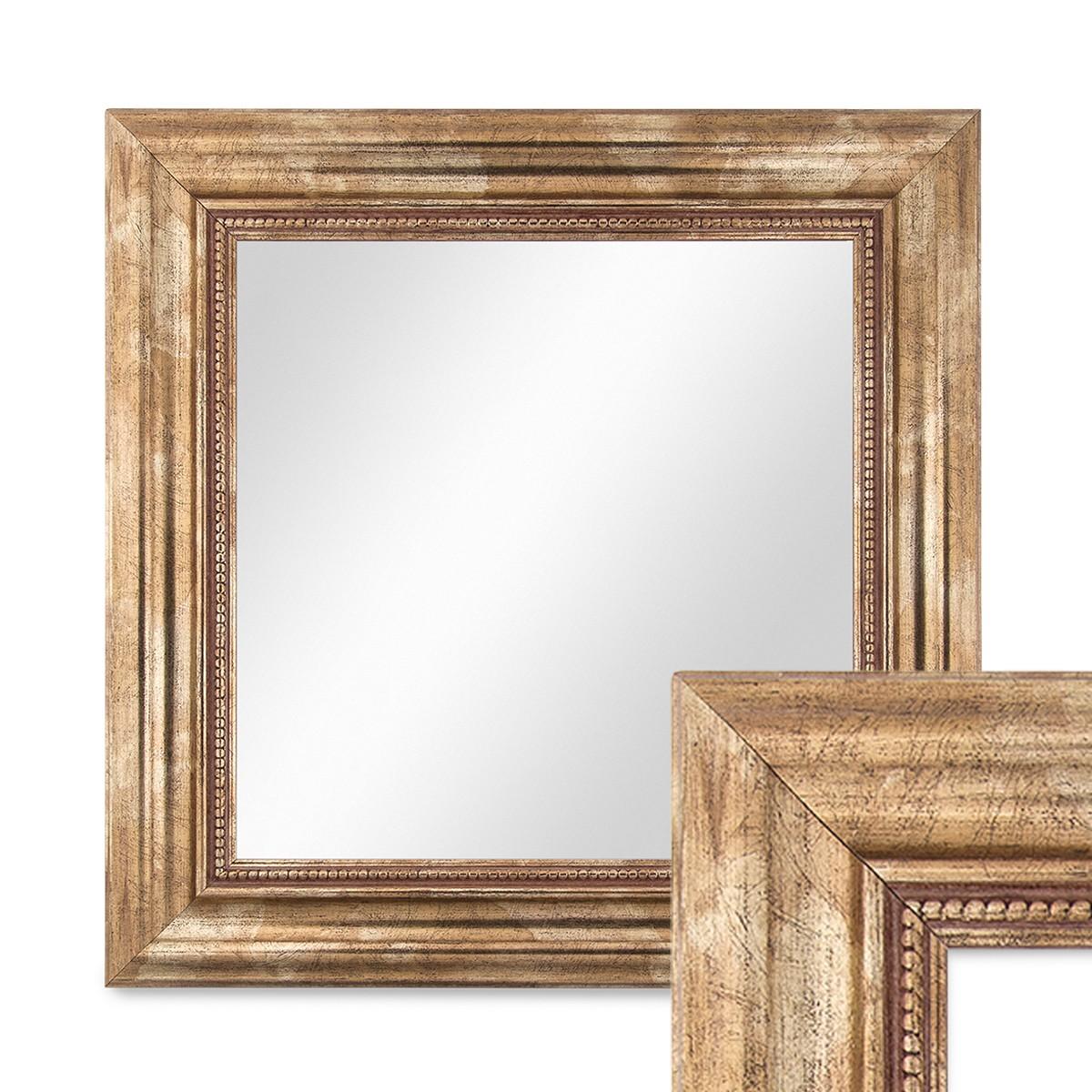 wand spiegel 40x40 cm im massivholz rahmen barock stil antik gold quadratisch spiegelfl che. Black Bedroom Furniture Sets. Home Design Ideas