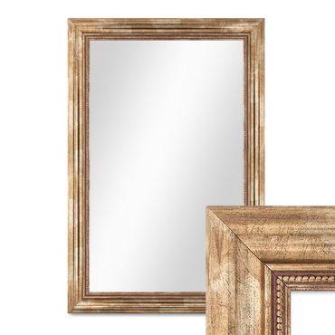 Wand-Spiegel 50x70 cm im Massivholz-Rahmen Barock-Stil Antik Gold / Spiegelfläche 40x60 cm