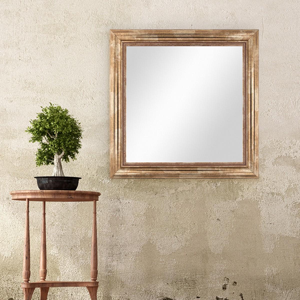Wand spiegel 60x60 cm im massivholz rahmen barock stil for Spiegel 60x60