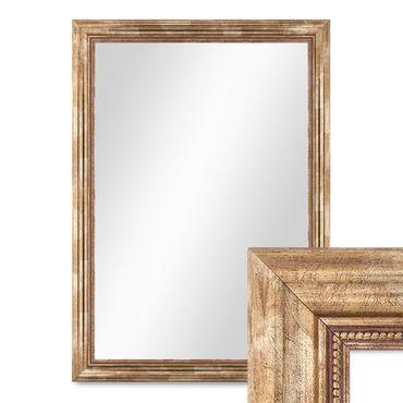 Wand-Spiegel 70x90 cm im Massivholz-Rahmen Barock-Stil Antik Gold / Spiegelfläche 60x80 cm