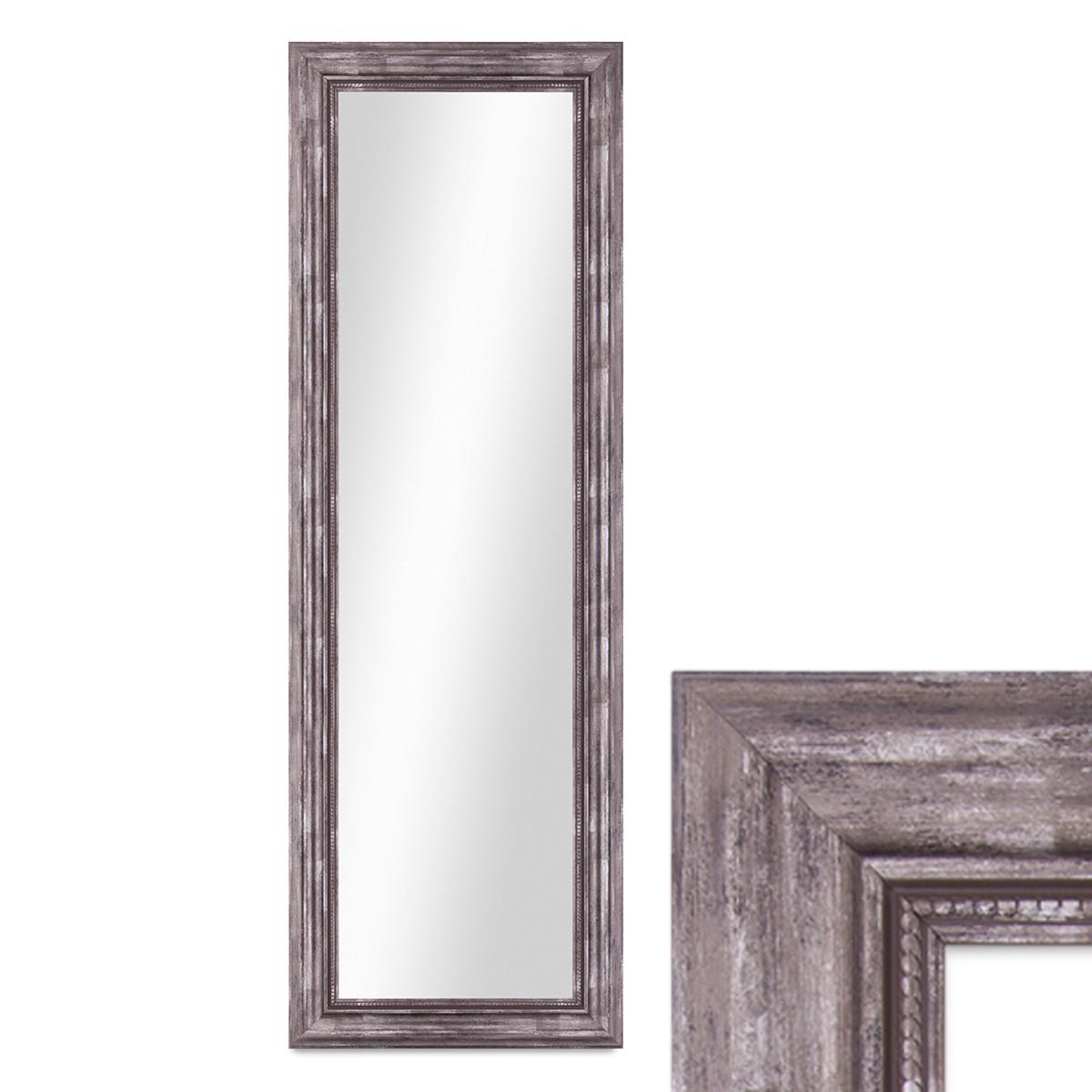 wand spiegel 40x100 cm im massivholz rahmen barock stil antik silber spiegelfl che 30x90 cm. Black Bedroom Furniture Sets. Home Design Ideas