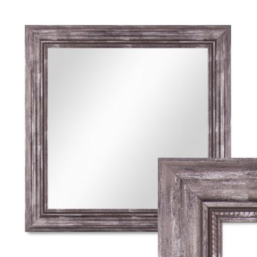 Wand-Spiegel 50x50 cm im Massivholz-Rahmen Barock-Stil Antik Silber Quadratisch / Spiegelfläche 40x40 cm