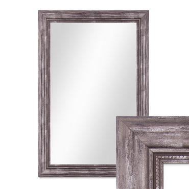 Wand-Spiegel 50x70 cm im Massivholz-Rahmen Barock-Stil Antik Silber / Spiegelfläche 40x60 cm