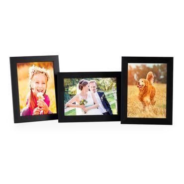 3er Set Bilderrahmen 13x18 cm Schwarz Modern aus MDF mit Glasscheibe und Zubehör / Fotorahmen