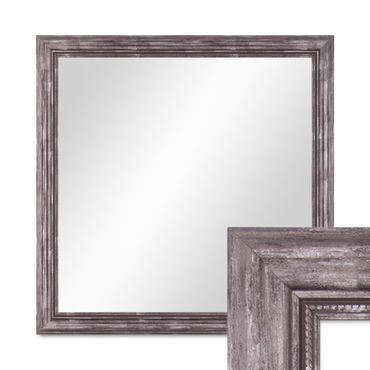 Wand-Spiegel 70x70 cm im Massivholz-Rahmen Barock-Stil Antik Silber Quadratisch / Spiegelfläche 60x60 cm
