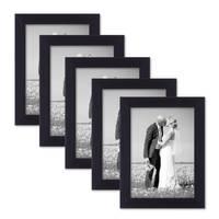 5er Set Bilderrahmen 13x18 cm Schwarz Modern aus MDF mit Glasscheibe und Zubehör / Fotorahmen  – Bild 1