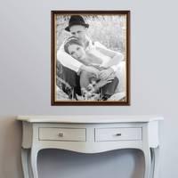 Bilderrahmen 50x70 cm Antik Dunkelbraun mit Goldkante Massivholz mit Acrylglasscheibe inkl. Zubehör – Bild 2