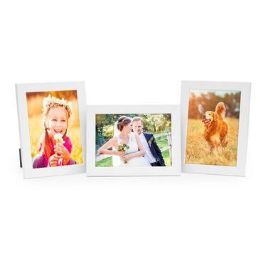 3er Set Bilderrahmen 10x15 cm Weiss Modern aus MDF mit Glasscheibe und Zubehör / Fotorahmen