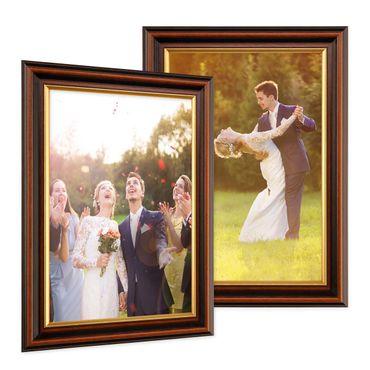 2er Set Bilderrahmen 20x30 cm Antik Dunkelbraun mit Goldkante Massivholz mit Glasscheibe inkl. Zubehör