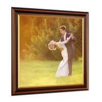 2er Set Bilderrahmen 30x30 cm Antik Dunkelbraun mit Goldkante Massivholz mit Glasscheibe inkl. Zubehör – Bild 2