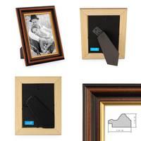 3er Set Bilderrahmen 10x10 cm Antik Dunkelbraun mit Goldkante Massivholz mit Glasscheibe inkl. Zubehör – Bild 2