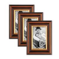 3er Set Bilderrahmen 10x15 cm Antik Dunkelbraun mit Goldkante Massivholz mit Glasscheibe inkl. Zubehör – Bild 1