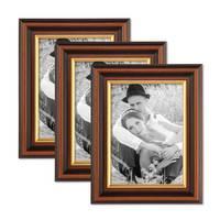 3er Set Bilderrahmen 13x18 cm Antik Dunkelbraun mit Goldkante Massivholz mit Glasscheibe inkl. Zubehör – Bild 1