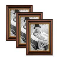 3er Set Bilderrahmen 15x20 cm Antik Dunkelbraun mit Goldkante Massivholz mit Glasscheibe inkl. Zubehör – Bild 1