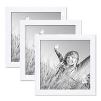 3er Set Bilderrahmen 20x20 cm Weiss Modern aus MDF mit Glasscheibe und Zubehör / Fotorahmen  – Bild 1