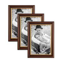 3er Set Bilderrahmen 20x30 cm Antik Dunkelbraun mit Goldkante Massivholz mit Glasscheibe inkl. Zubehör – Bild 1