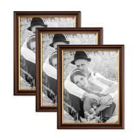 3er Bilderrahmen-Set 30x45 cm Antik Dunkelbraun mit Goldkante
