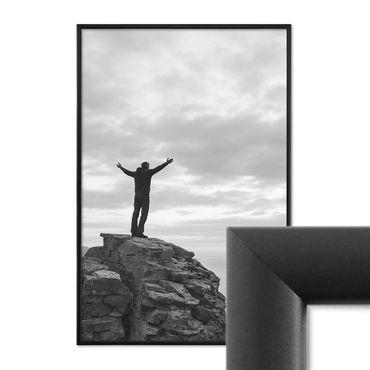 Alu-Bilderrahmen 40x60 cm Aluminium-Rahmen Schwarz Matt mit Glasscheibe inkl. Zubehör