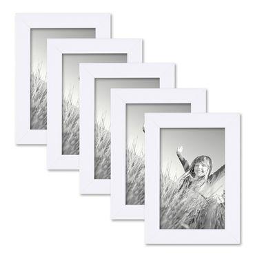 5er Set Bilderrahmen 10x15 cm Weiss Modern aus MDF mit Glasscheibe und Zubehör / Fotorahmen