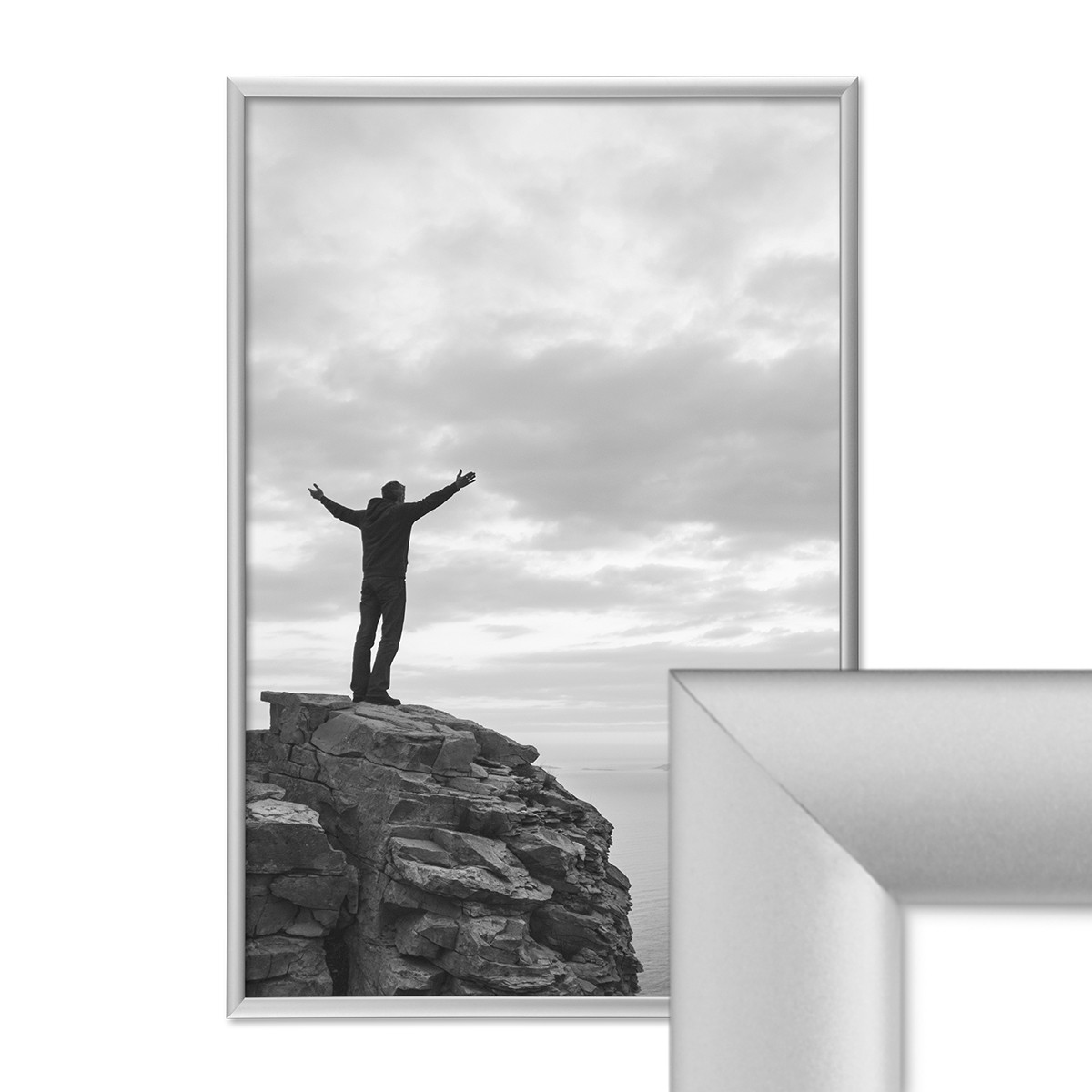 alu bilderrahmen 30x40 cm aluminium rahmen silber matt mit glasscheibe inkl zubeh r rahmen gr e. Black Bedroom Furniture Sets. Home Design Ideas