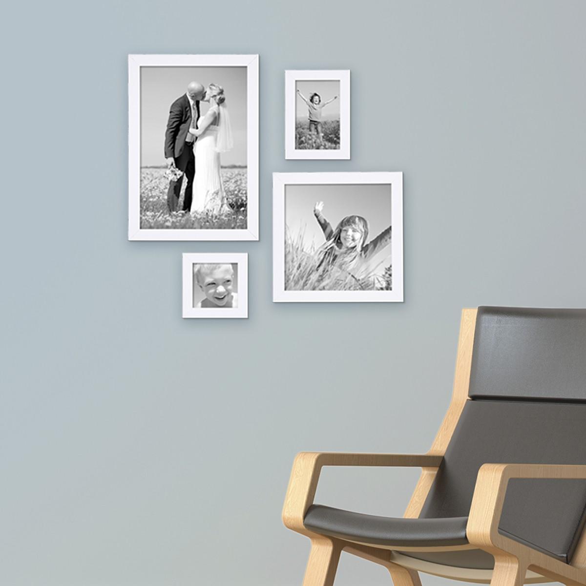 Fotowand Bilderrahmen 4er set bilderrahmen weiss modern aus mdf je einmal 10x10 10x15