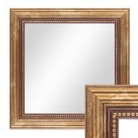 Wand-Spiegel ca. 26x26 cm im Massivholz-Rahmen Barock-Stil Antik Gold Quadratisch / Spiegelfläche 20x20 cm