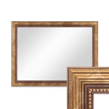 Wand-Spiegel ca. 36x46 cm im Massivholz-Rahmen Barock-Stil Antik Gold / Spiegelfläche 30x40 cm