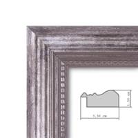 Wand-Spiegel ca. 26x26 cm im Massivholz-Rahmen Barock-Stil Antik Silber Quadratisch / Spiegelfläche 20x20 cm – Bild 3