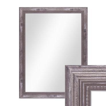 Wand-Spiegel ca. 36x46 cm im Massivholz-Rahmen Barock-Stil Antik Silber / Spiegelfläche 30x40 cm